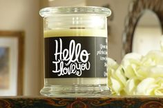 Hello I Love You Candle Card  Gift of a Natural Soy Candle