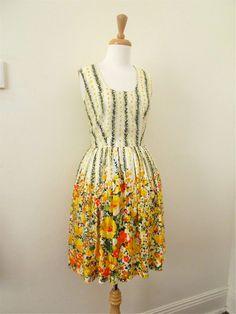 50s Dress / 1950s Dress / Spring Floral by MissMittensVintage, $155.00