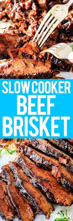 SCROLL TO BOTTOM FOR RECIPIE! Slow Cooker Beef Brisket is a simple recipe that is wonderfully juicy, exploding with flavor, smothered with spices, oven seared then simmered in the crockpot until it is melt-in-your-mouth-tender. Crock Pot Slow Cooker, Best Slow Cooker, Crock Pot Cooking, Pressure Cooker Recipes, Beef Brisket Recipes, Crockpot Recipes, Cooking Recipes, Casserole Recipes, Pasta Recipes