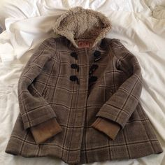 Juicy couture jacket Grey and plaid juicy couture jacket keeps you very warm may need dry cleaning Juicy Couture Jackets & Coats