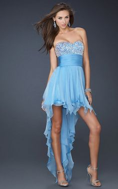 Cheap La Femme 17687 Dresses High-Low Prom Dresses light blue