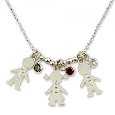 Show #mom your appreciation with this sterling silver girl & boy name birthstone necklace. The sweetly dangling girl and boy charms may be engraved with her girl's and boy's name and marked with their birthstones.  Original price was 86, now just $65