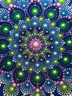 Hand painted mandala on canvas, meditation mandala, dot art Mandala Design, Mandala Pattern, Mandala Painted Rocks, Mandala Rocks, Mandalas Painting, Mandalas Drawing, Dot Art Painting, Stone Painting, Mandala Canvas