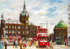 Pete Lapish - City Square - Leeds - West Yorkshire - England - Horsfield Tram - 1953 Leeds England, Yorkshire England, West Yorkshire, London Dreams, English Countryside, United Kingdom, Cool Pictures, British, Street View