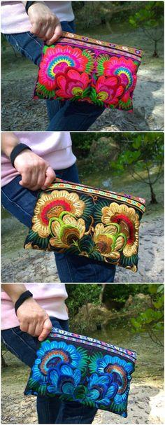 Boho Clutch - Hmong Clutch Bag -Embroidery Floral Bag - Bohemian Clutch ( FREE SHIPPING WORLDWIDE ) - side purse bags, black bags online, shoulder shopping bag *ad