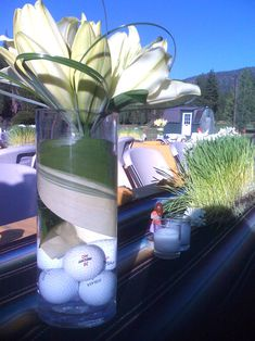 Golf centerpiece- love this idea b/c we'll be getting married at a Golf Course! without the golf balls Golf Centerpieces, Wedding Reception Centerpieces, Thema Golf, Golf Wedding, Sports Wedding, Wedding Fun, Wedding Decor, Wedding Stuff, Golf Events