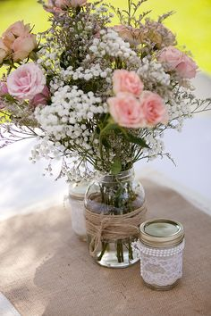 Rustic Baby's Breath and Rose Centerpieces