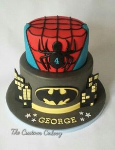 I really enjoyed making this, first time I've got to do Batman or Spiderman. The customer wanted to add her own figures but decided not to after seeing it! Batman Spiderman, Batman Cakes, Cupcakes, Cupcake Cakes, Superhero Birthday Cake, Superhero Party, Twin Birthday, Birthday Cakes, Deco Cupcake