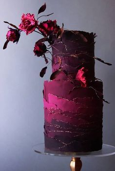 Wedding cakes are an iconic part of a big-day reception. There's nothing like a beautiful wedding cake, that looks almost too pretty to cut into. Dark Red Wedding, Wedding Cake Red, Pretty Wedding Cakes, Fall Wedding Cakes, Wedding Cake Designs, Pretty Cakes, Beautiful Cakes, Amazing Cakes, Beautiful Cake Designs