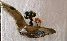 ceramics, ceramic art, orange tree, ceramic tree, ceramic house, driftwood