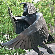 "Michael Naranjo's ""Eagle Man,"" part of a retrospective exhibition of the artist's sculpture at Nedra Matteucci Galleries"