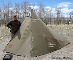 Kifaru Sawtooth - Light weight (4lbs) spacious (7ft tall, 13'x10' floorspace) shelter. Bottomless design allows for small stove or small dakota hole fire inside to keep shelter warm and all cooking inside.