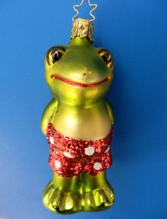 INGE GLAS FROG FROSCH BADEMEISTER BLOWN GLASS CHRISTMAS ORNAMENT GREEN