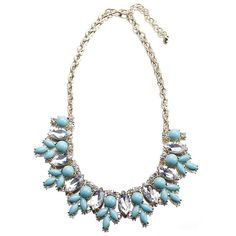 Sky Blue Bubble Resin Bead Ball Rhinestone Chic for Lady Necklace