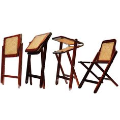 Product Details: Made of rosewood with double caned seat and back. This chair has an ingenious folding mechanism, which folds it flat, making it extremely compact for travel. The bottoms of the legs are rubberized. Two chairs fold up neatly and fit into a 24 Oz canvas bag. Dimensions: W: 17.5' D: 15.25' H: 29.5' Folded: W: 17.5' D: 1.75' H: 35.5'
