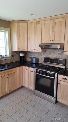Kitchen Remodel Maple Wood Kitchen Cabinets Black Countertops 16 Ideas Vinyl Siding - Adding Value t Kitchen Redo, Home Decor Kitchen, Kitchen Styling, Home Kitchens, Kitchen Remodel, Kitchen Design, Kitchen Ideas, 10x10 Kitchen, Kitchen Small
