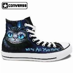 2af1aebe45 Hand Painted Shoes Men Women Converse All Star We re All Mad Here Cheshire  Cat Alice In Wonderland Design High Top Sneakers