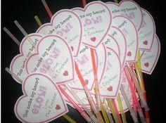 You make me glow!  valentines with glow sticks