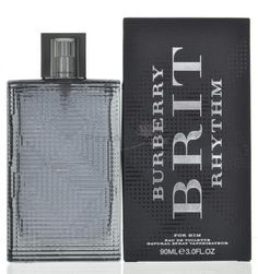 Burberry Brit Rhythm For Him Eau de Toilette 3 oz 90 ml spray Burberry Brit Rhythm For Him Eau de Toilette .This Perfume is a mixture of basil, verbena, cardamom , juniper berries, leather, patchouli , styrax,cedar, incense and tonka bean.