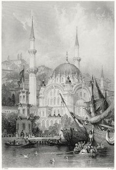 Nusretiye Mosque, in Tophane district of Beyoğlu, Istanbul.    Thomas Allom, from Constantinople, by Robert Walsh, London, 1839.