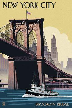 Brooklyn Bridge New York, George Washington Bridge, Painting Edges, Vintage Travel Posters, Poster Vintage, Grafik Design, Stretched Canvas Prints, Artist Canvas, Retro