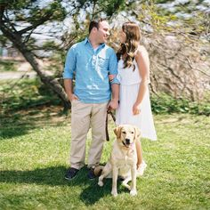 Couple with their dog at their Long Branch Beach engagement. Photos by Jordan Brian Photography.