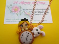 Alice in Wonderland Polymer clay Necklace with by IlMondodiPetra