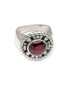 @Cynthia Gale Kamon collection #silver ring with garnet accent.   www.cynthiagale.com Silver Jewelry, Silver Rings, Edgy Chic, Rock N Roll, Garnet, Rings For Men, Collection, Granada, Men Rings