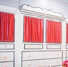 pinkies up style closets in wall (black outline with same color hot pink knobs) hot pink  wall  lining.