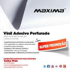 MAXIMA - Vinil adesivado perfurado: ideal para aplicações em vidros e vitrines. Confira: