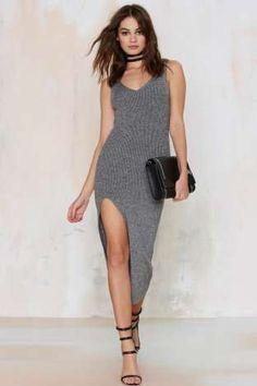 Madison Ribbed Midi Dress - Gray   Shop Clothes at Nasty Gal!