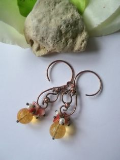 Тhe sun spray Wire earrings Copper earrings by ElanorStudio