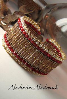 Seed Bead Bracelets, Seed Bead Jewelry, Bangle Bracelets, Beaded Jewelry, Handmade Jewelry, Bead Embroidery Jewelry, Beaded Bracelet Patterns, God's Eye Craft, Seed Bead Patterns