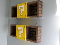 Super Mario Bros Shelf – Shadow Box Shelf – Modern Question Mark Block – Hand Made – Hand Painted – MADE TO ORDER Mario shelves, set of Perfect for Super Mario Nursery or Princess Peach Nursery! Super Mario Nursery, Super Mario Room, Console Style, Nintendo Room, Deco Gamer, Shadow Box Shelves, Geek Room, Video Game Rooms, Geek Decor