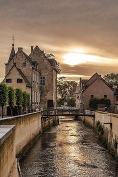 Sun going down in Valkenburg, The Netherlands.