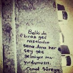 Belki de biraz geç rastladım sana. Ama her şey geç gelmiyor mu yurdumuza.   - Cemal Süreya Erdem, Sentences, Poems, Feelings, Instagram Posts, Quotes, Pattern, Life, Google