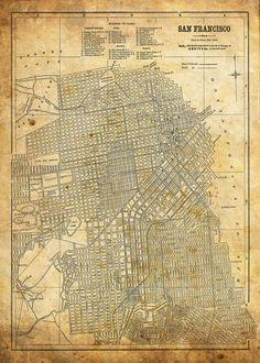 1944 San Francisco Street Map Vintage 13x19 Sepia Grunge Print Poster