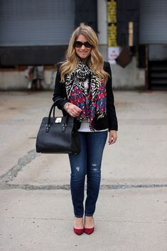 Floral Zebra Print Scarf by Stell and Dot makes a statement accessory with a simple jeans and tee outfit, with matching pink heels