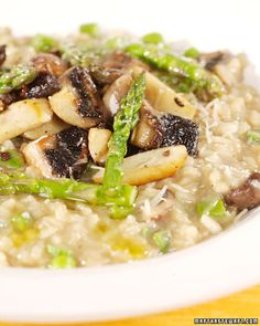 Mushroom and Asparagus Risotto    This spring risotto showcases fresh asparagus and earthy mushrooms (such as oyster, cremini, or shiitake). Using a small amount of dried porcinis enhances the mushroom flavor.