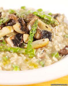 Mushroom and Asparagus Risotto - Martha Stewart Recipes. Made this tonight! SO good!
