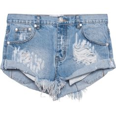 One Teaspoon Hustler Bandits // Destroyed denim hot pants ($120) ❤ liked on Polyvore featuring shorts, bottoms, distressed shorts, distressed denim shorts, ripped denim shorts, short shorts and summer shorts