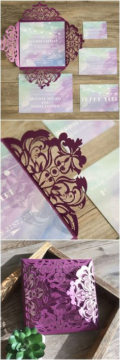 Shades of purple blue and green watercolor laser cut wedding invitations(Cool Designs String Lights) Laser Cut Wedding Invitations, Wedding Stationary, Wedding Invitation Cards, Wedding Cards, Diy Wedding, Dream Wedding, Wedding Day, Spring Wedding, Invites