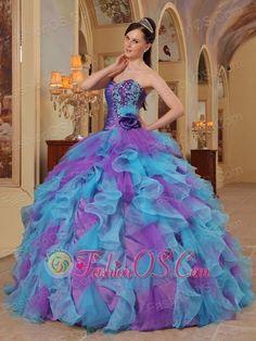 Top quinceanera dress, Purple and Aqua Blue Quinceanera Dres Sweetheart Ruffles Organza QDZY453, prom dress