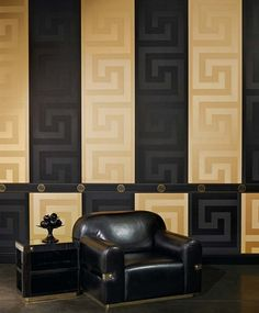 Shop Versace Greek Key Black Wallpaper by AS Creation at Home Flair Decor. Browse all our Designer Wallcoverings including Versace today! Gold Luxury Wallpaper, Versace Wallpaper, Home Wallpaper, Designer Wallpaper, Bedroom Wallpaper, Silver Wallpaper, Modern Wallpaper, Wallpaper Ideas, Versace Casa
