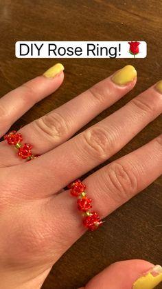 Diy Beaded Rings, Diy Jewelry Rings, Diy Crafts Jewelry, Ring Crafts, Bead Jewellery, Bracelet Crafts, Beaded Bracelets, Jewlery, Handmade Jewelry Tutorials