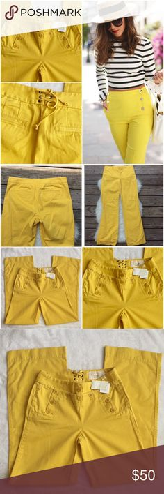 NWT J Crew Yellow Sailor Chino Pants Bright sunny yellow J Crew Sailor style pants with high waist, front buttons with anchors on them, wide leg, and back Corset style tie. Size 0 and brand new with tags. Please note that in the first collage pic on the right pic is a stock photo, the other pictures are of the actual pants for sale. ⚓️No trades or holds. I accept reasonable offers unless the item is priced at $8 or less and then the price is FIRM. I only negotiate through the offer button. I…