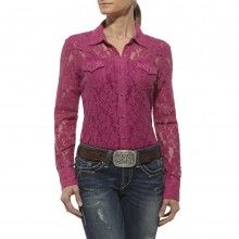Look at this Wicked Berry Lace Danika Button-Up - Women by Ariat Country Shirts, Western Shirts, Western Wear, Mom Outfits, Cute Outfits, Narnia Wardrobe, Diy Fashion, Fashion Outfits, Leather Jacket