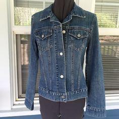 "GAP Stretch Blue Jean Jacket GAP Stretch Blue Jean Jacket.  Button front. Long sleeves, 24"".  Breast pockets.   Shoulder width 15-1/2"".  Pit-to-pit 18"".  Length 20"". (shoulder to hem).  Excellent, new condition. GAP Jackets & Coats Jean Jackets"