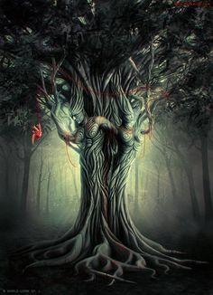 Dark fantasy art, dark art, tree of life, anima and animus, magical Fantasy Images, Fantasy Artwork, Anima And Animus, Beautiful Dark Art, Psy Art, Arte Horror, Creepy Art, Visionary Art, Fantasy Landscape