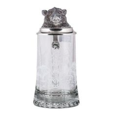Boar's Head Glass Beer Stein with Etched Decoration and Pewter Lid